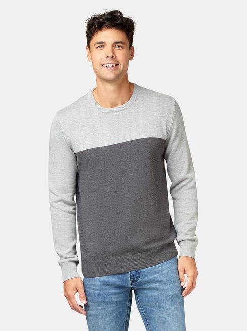 Conrad Block Crew Knit, Grey, hi-res