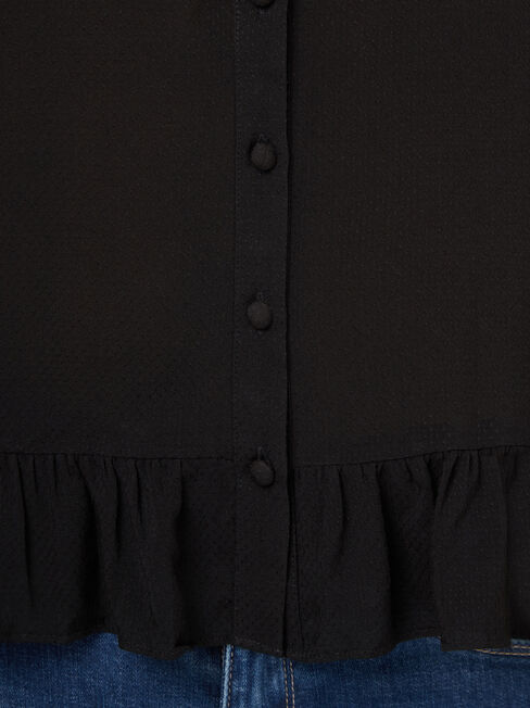 Natasha Button Through Top, Black, hi-res