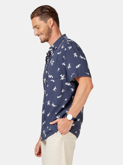 Apollo Short Sleeve Print Shirt, Blue, hi-res