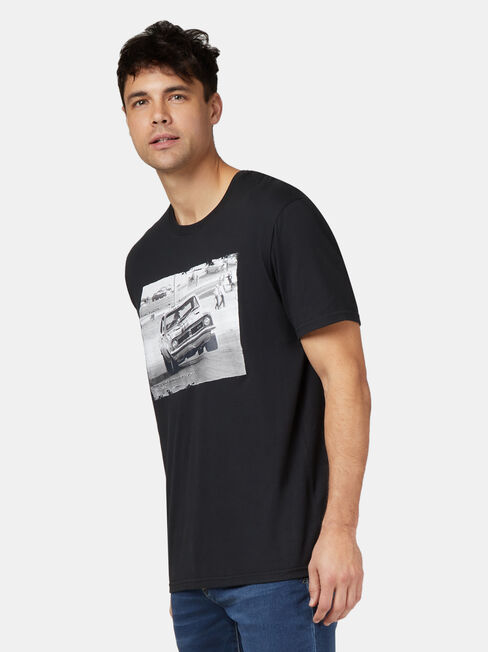Monaro HT Short Sleeve Print Crew Tee, Black, hi-res