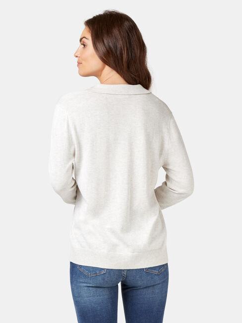 Iris Collared Knit, White, hi-res