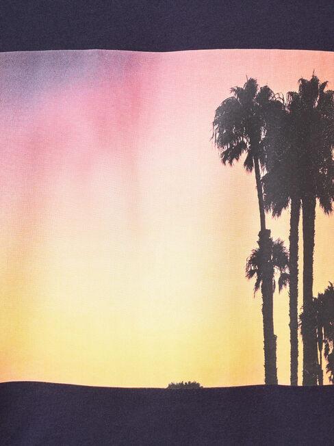 Sunset Short Sleeve Print Crew Tee, Blue, hi-res