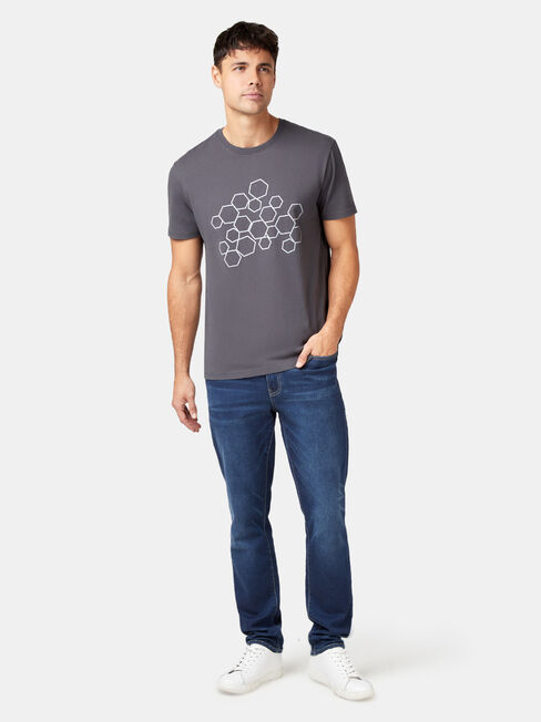 Dawson Short Sleeve Print Crew Tee, Grey, hi-res