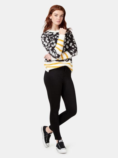 Erin Patterned Knit, Black, hi-res