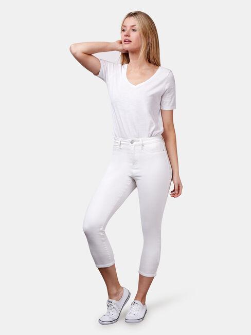 Kara Mid Waist Skinny Capri White, White, hi-res