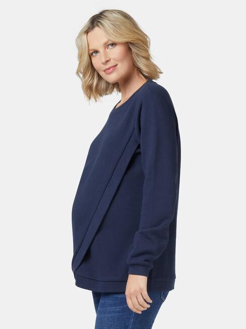 Violet Cross Over Maternity Sweat, Blue, hi-res