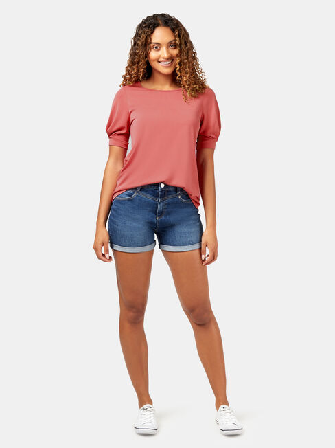 Annie Puff Sleeve Top, Red, hi-res