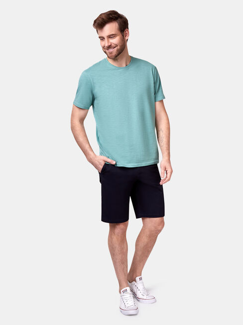 Pablo Short Sleeve Slub Basic Tee, Green, hi-res