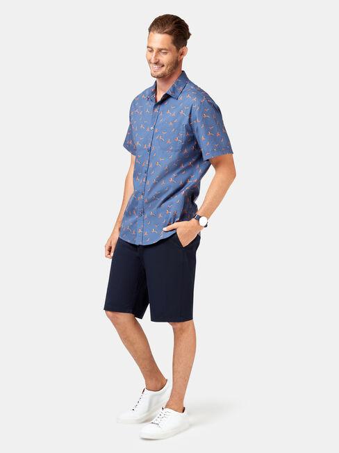 Finn Short Sleeve Print Shirt, Blue, hi-res