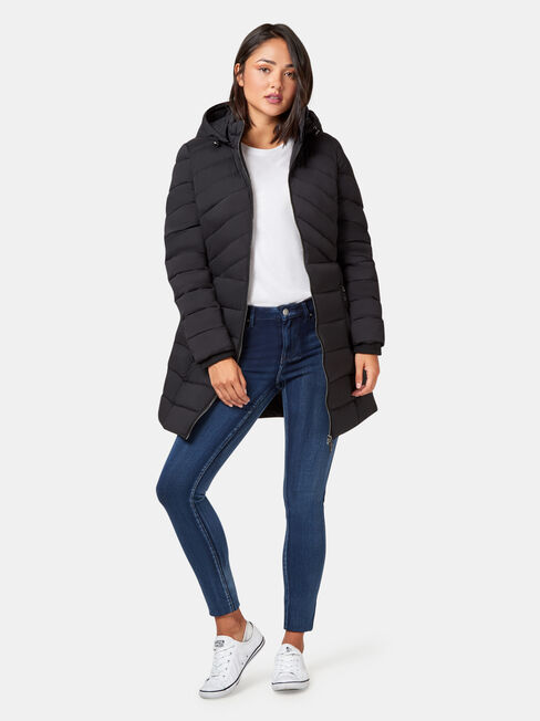 Bella Longline Padded Jacket, Black, hi-res