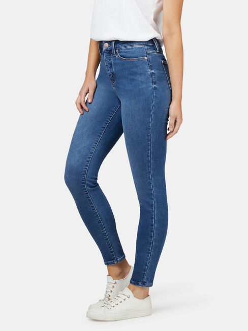 Feather Touch M/W Skinny 7/8 Jeans, Mid Indigo, hi-res