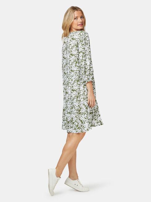 Natasha Tiered Dress, Green, hi-res