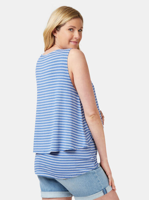 Cerese Layered Maternity Sleeveless Top, Stripe, hi-res