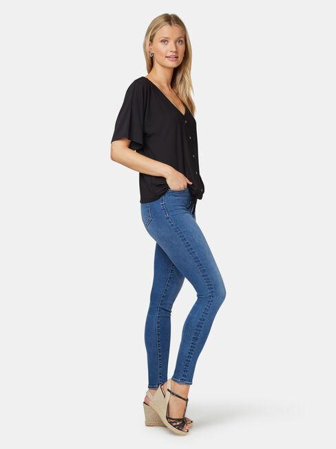 Marie Floral Jersey Top, Black, hi-res
