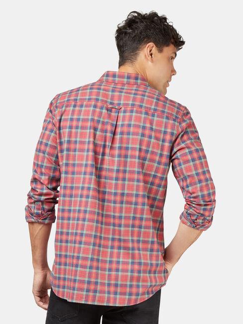 LS Harley Brushed Check Shirt, Red, hi-res