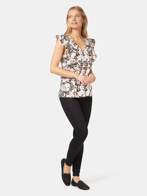 Penelope Linen Blend Top, Floral, hi-res