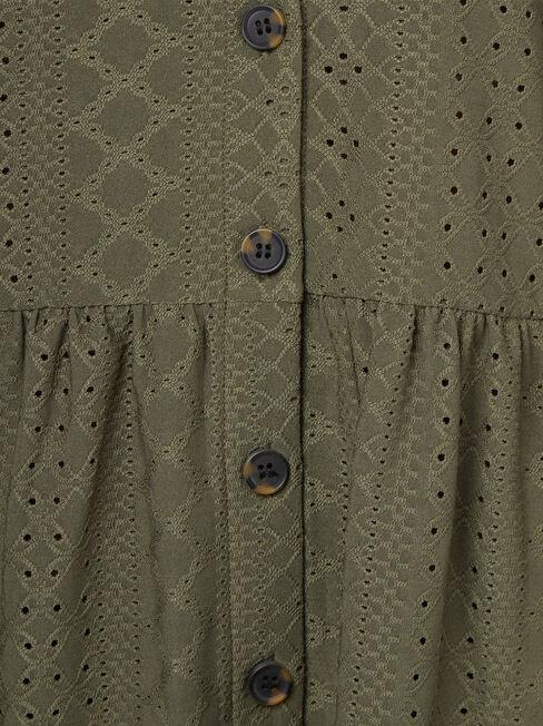 Eden Lacey Button Through Tee, Green, hi-res