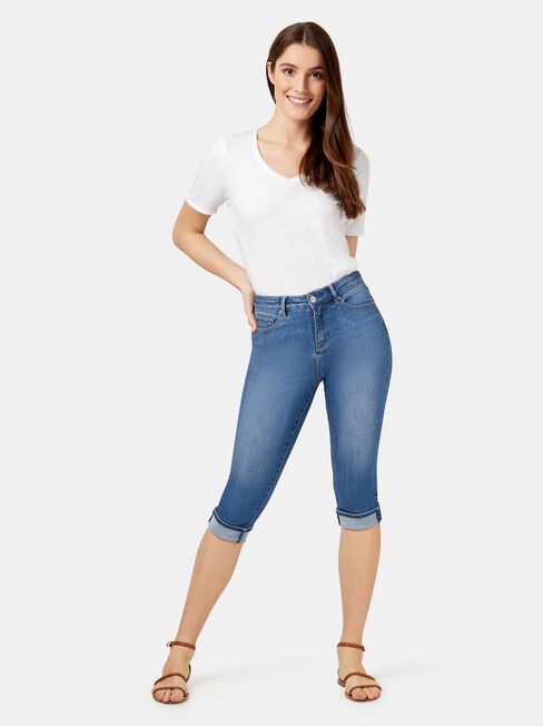 Aggie Mid Waisted Pedal Pusher, Mid Indigo, hi-res