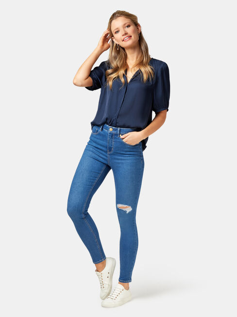 Grace Sandwashed Blouse, Blue, hi-res