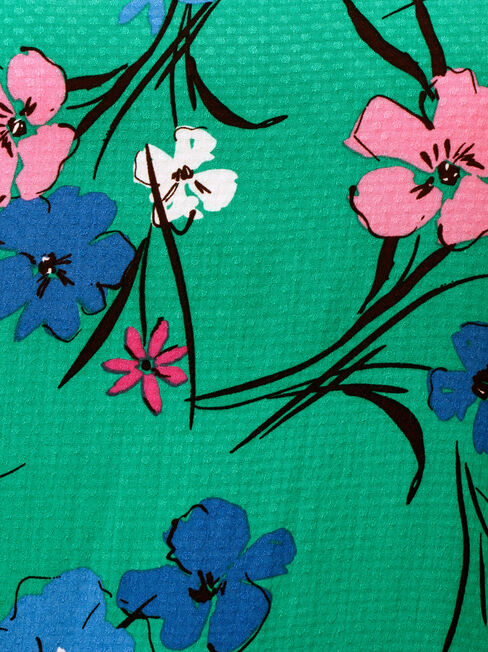 Francine Frill Sleeve Top, Green, hi-res