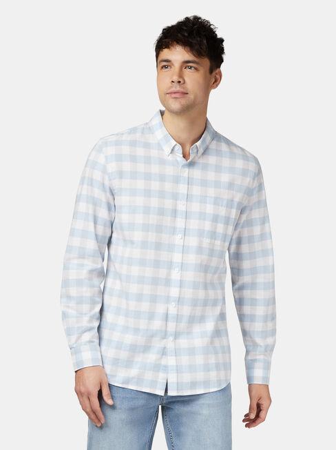 Nate Long Sleeve Check Shirt, Blue, hi-res