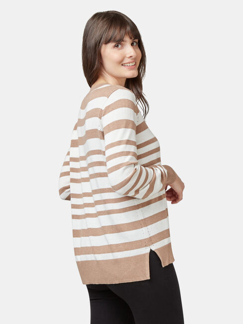Aspen Curve Hem Essential Knit, Stripe, hi-res