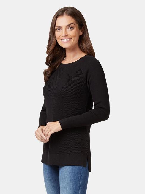 Catalina Chevron Pullover, Black, hi-res