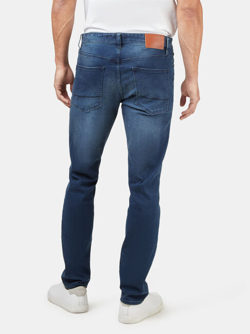 Slim Straight Knit Jeans Blue Black, Dark Indigo, hi-res
