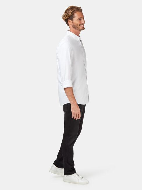 Heston Long Sleeve Oxford Shirt, White, hi-res