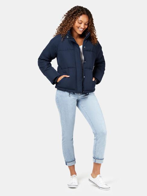 Mabel Short Puffer Jacket, Blue, hi-res