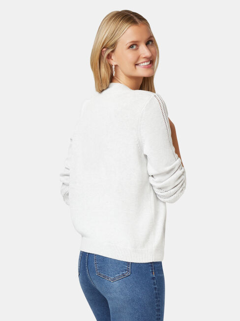Alex Pointelle Pullover, Grey, hi-res