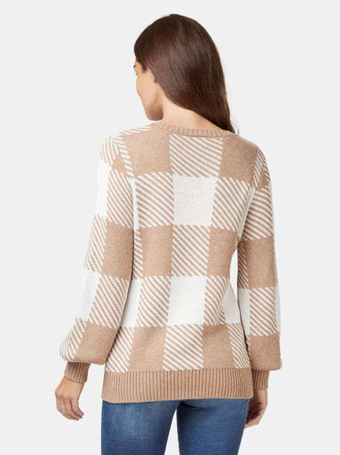 Maci Check Pullover, Brown, hi-res