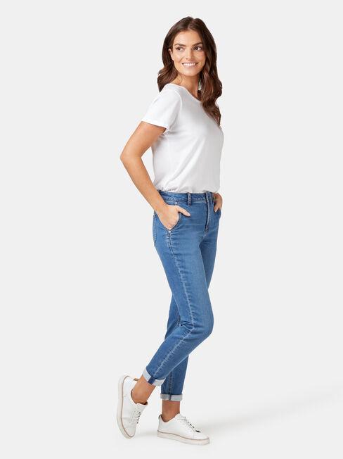 Louisa Slim Boyfriend Jeans, Mid Indigo, hi-res
