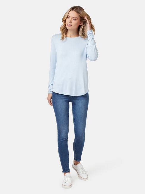 Maddie Soft Touch Curve Hem Pullover, Blue, hi-res
