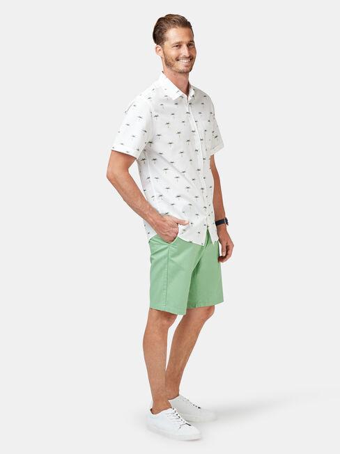 Palms Short Sleeve Print Shirt, White, hi-res