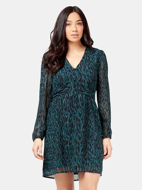 Cleo Print Dress, Blue, hi-res