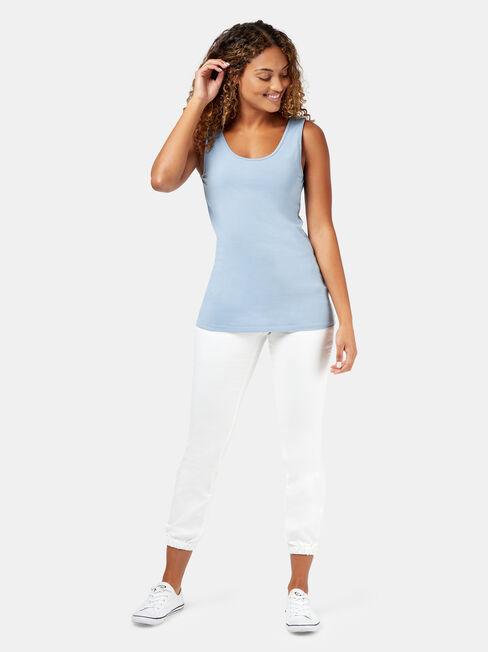 Post Maternity Cotton Nursing Tank, Blue, hi-res
