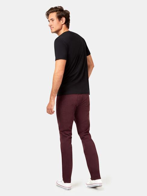 Slim Tapered Jeans Burgundy, Coloured, hi-res