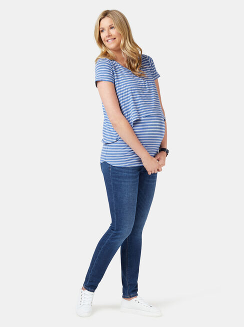 Cerese Layered Maternity Top, Stripe, hi-res