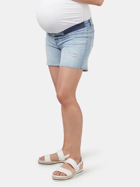 Kearly Elastic Insert Maternity Short, Blue, hi-res