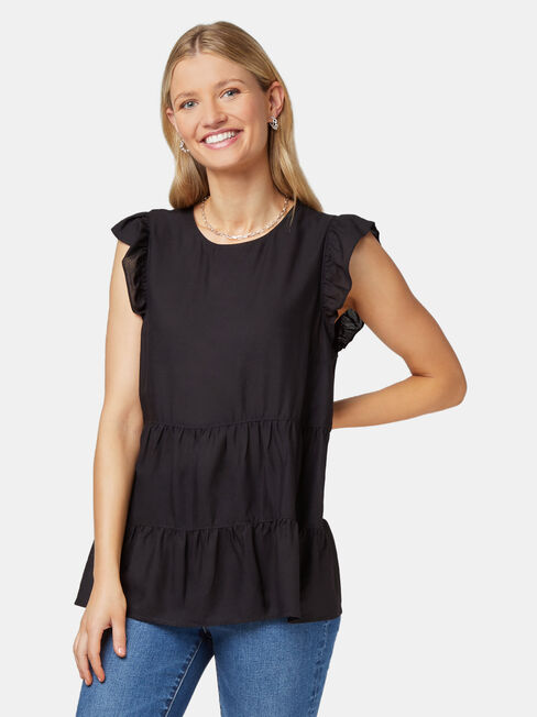 Lory Frill Sleeve Top, Black, hi-res