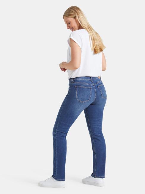 Curve Embracer Slim Straight Jeans Lake Blue, Mid Indigo, hi-res