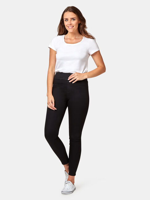 Tummy Trimmer Luxe Lounge Skinny Jeans Black, Black, hi-res