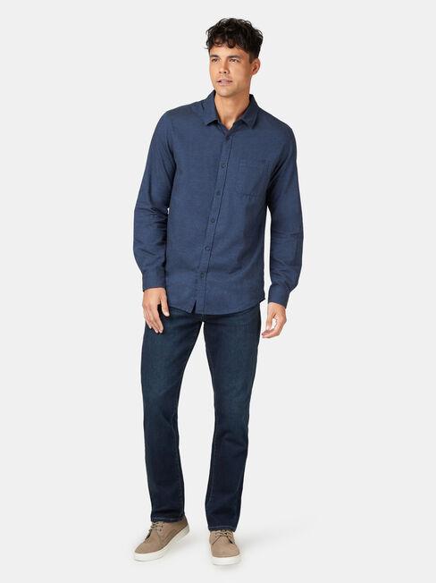 Byron Long Sleeve Brushed Shirt, Blue, hi-res