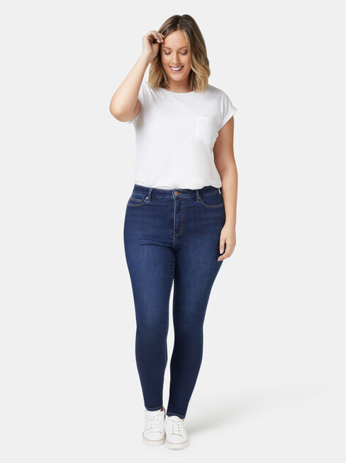 Feather Touch Curve Embracer H/W Skinny 7/8 Jeans, Dark Indigo, hi-res