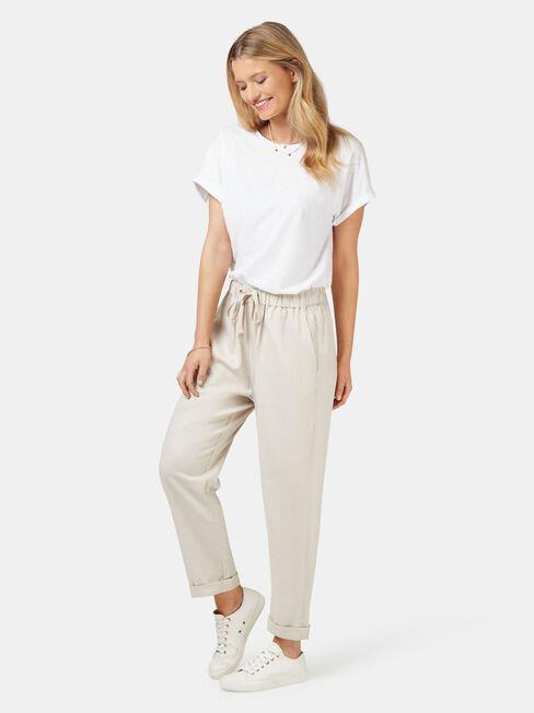 Linen Blend Pant, White, hi-res