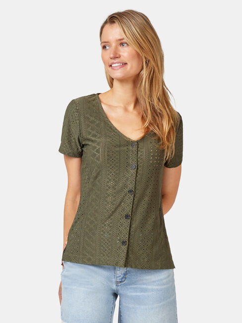 Maddison Lace Tee, Green, hi-res