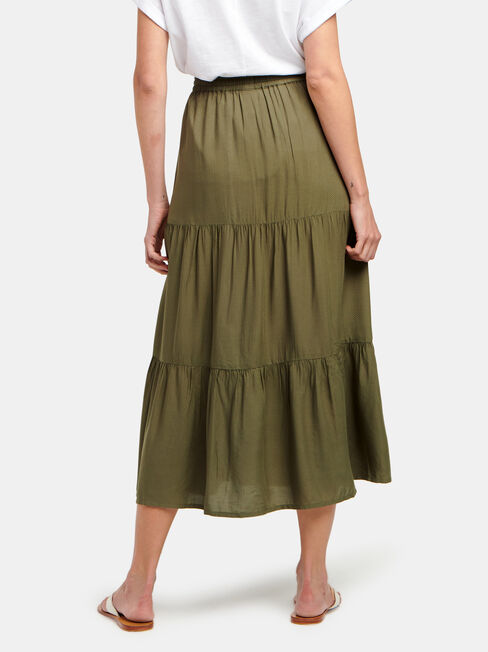 Tiffany Tiered Midi Skirt, Green, hi-res