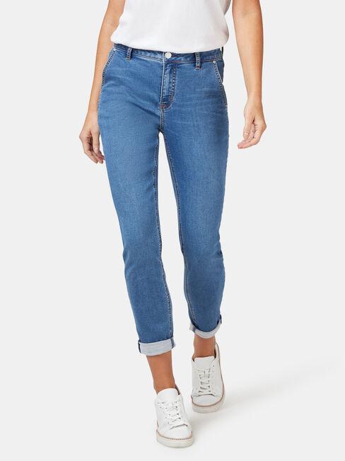 Louisa Slim Boyfriend Jeans Mid Indigo