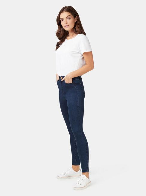 Eco Soft High Waisted Skinny 7/8 Jeans Dark Indigo